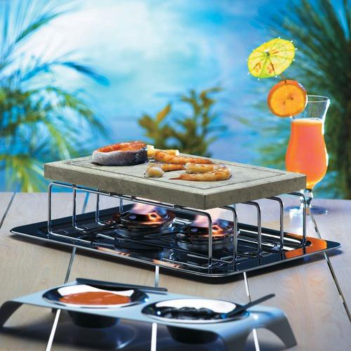 réchaud barcelona 2 queimadores e pedra (fondue na pedra)
