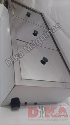 rechaud elétrico profissional triplo aço inox banho maria