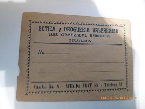 recibo botica y drogueria valparaiso  huara