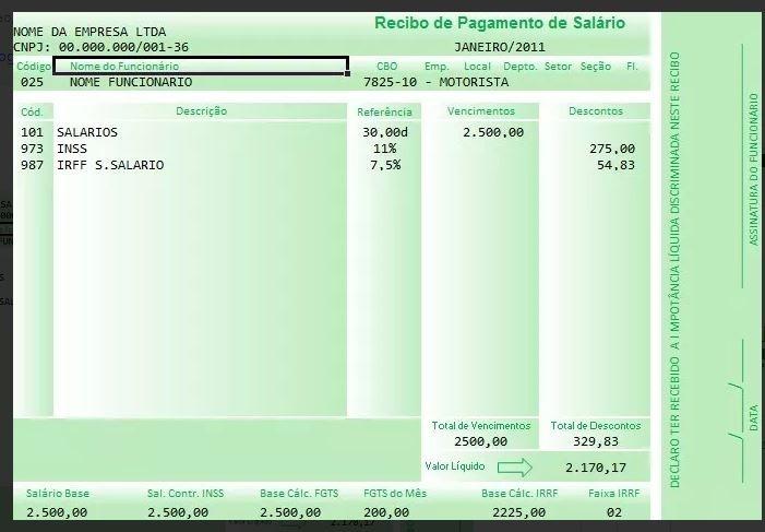 recibo contra cheque - holerite - salario -edit u00e1vel