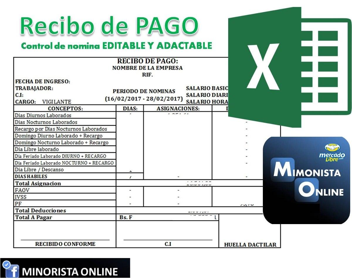 Formato De Recibo En Excel