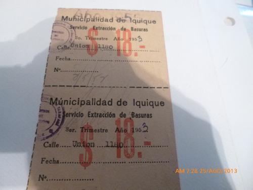 recibo municipalidad de iquique extraccion de basura 18 peso