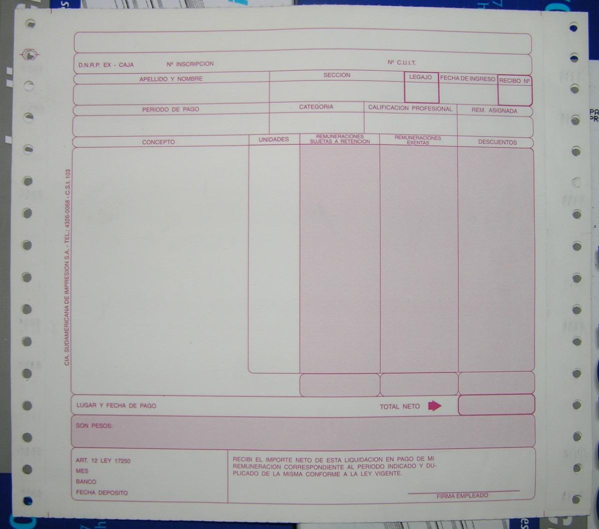 recibos de sueldo modelo bejerman f continuo x 250 químico 599