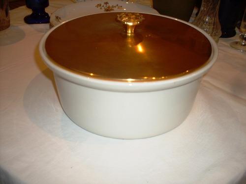 recipiente ceramica y portaceramica dorado de usa asas nuevo
