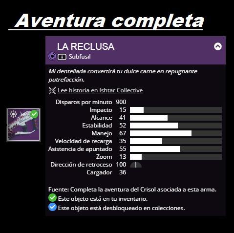 recluse, la ermitaña, destiny 2 pc, xbox, ps4