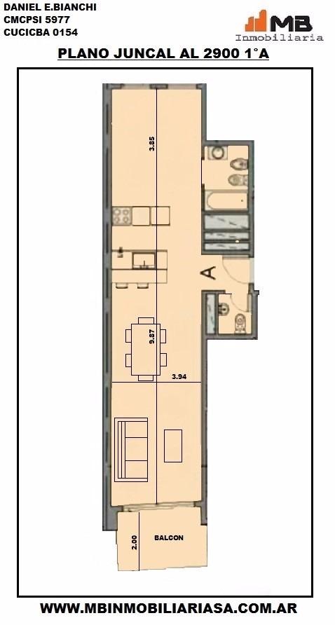 recoleta venta dpto 2 amb.c/balcon en juncal al 2900 1°a
