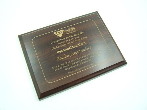 reconocimientos de madera grabados con laser. 1/4 carta