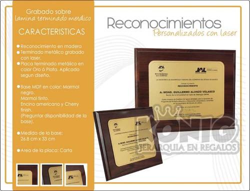 reconocimientos en madera con placa t/c grabados con laser.