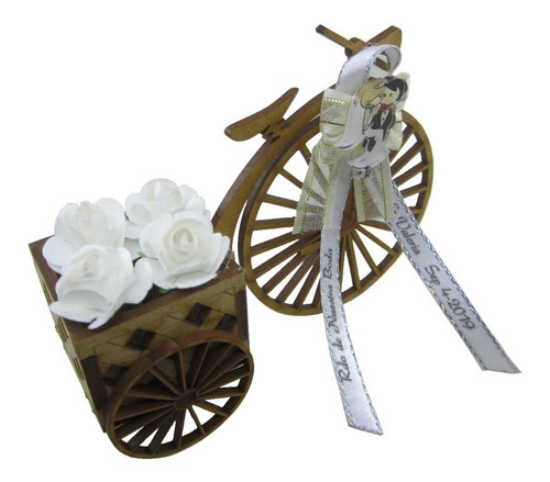 recordatorio bicicleta con cajón para matrimonio en madera