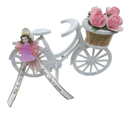 recordatorio bicicleta para 15 años en madera blanca
