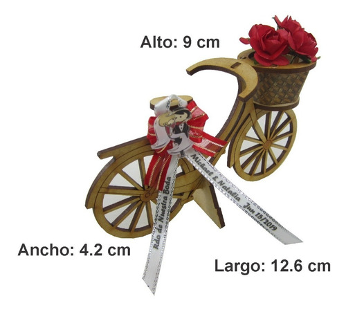recordatorio bicicleta para matrimonio en madera