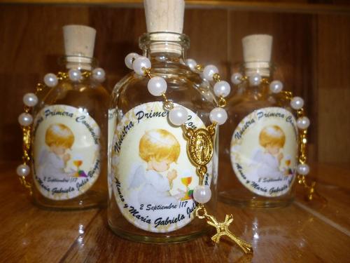 recordatorios bautizo comunión botella agua bendita denario
