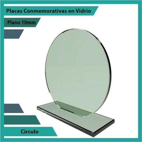 recordatorios trofeos en vidrio circulo plano 10mm
