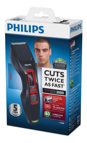 recortadora cortadora philips hc3420/15 hairclipper 3000