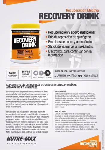recovery drink x 540grs nutre-max recuperacion aminoacidos