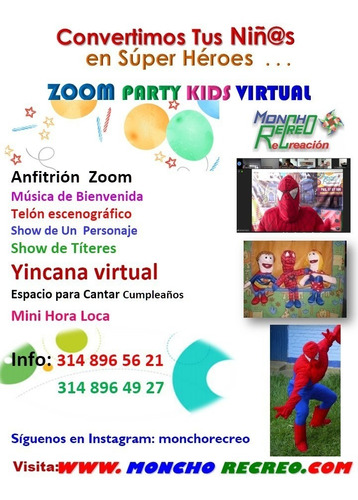 recreacion para fiestas infantiles y adultos virtual