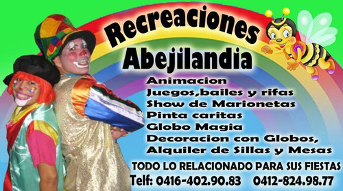 recreadores payasos, decoraciones con globos zanqueros , etc