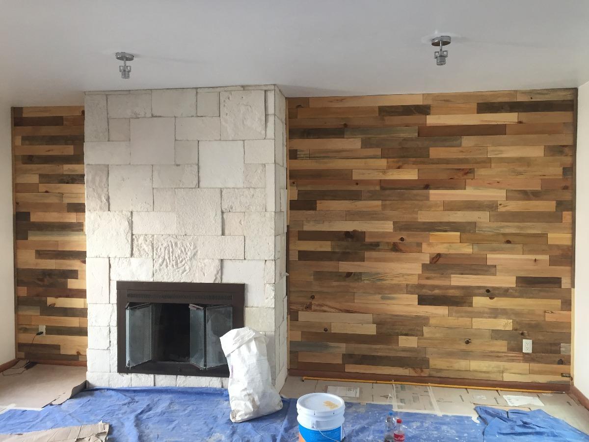 Recubrimiento muro de madera maciza pared pallet palet - Como hacer sillon de palets ...