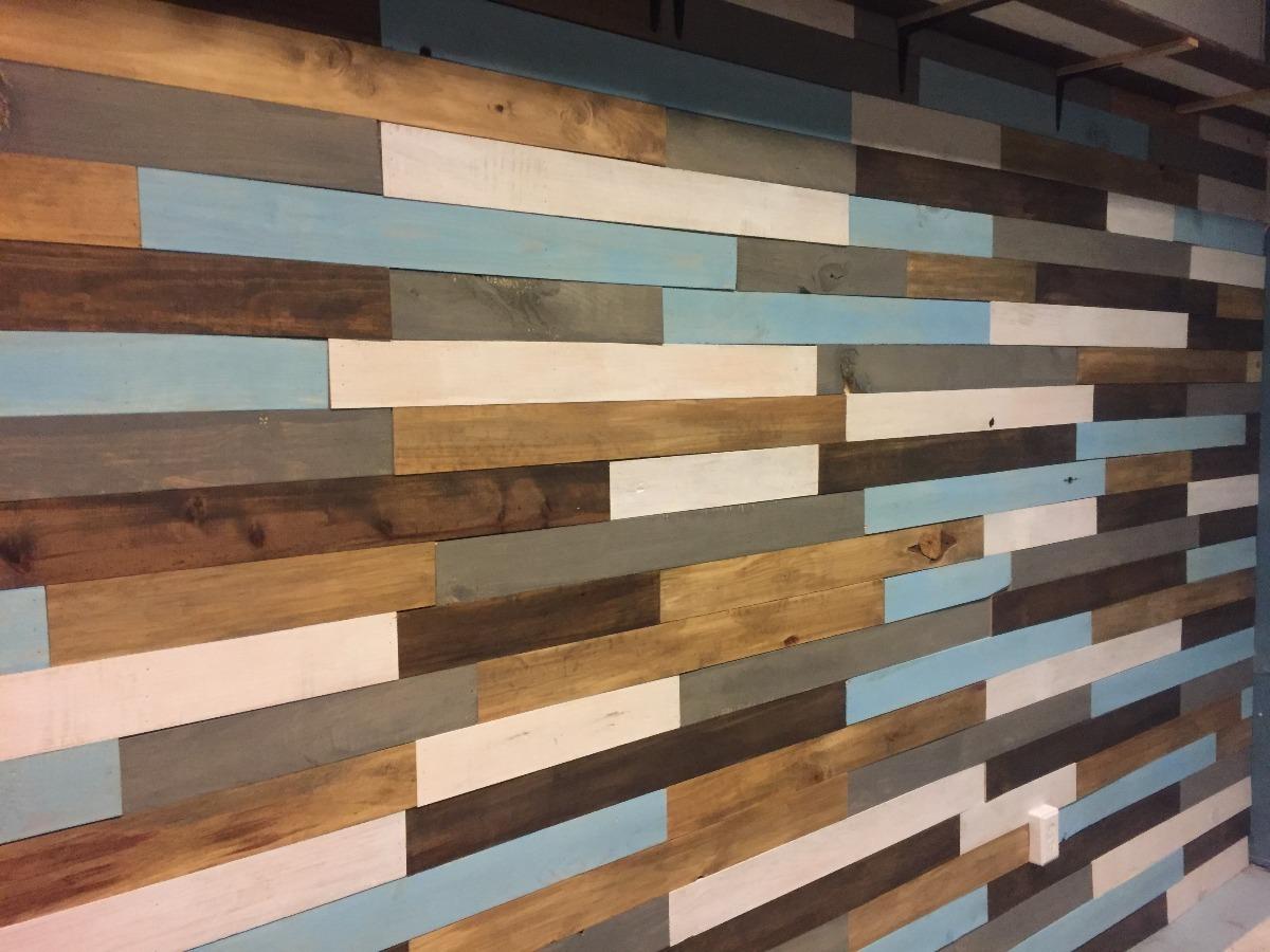 Recubrimiento muro de madera s lida pared pallet palet - Muro de madera ...