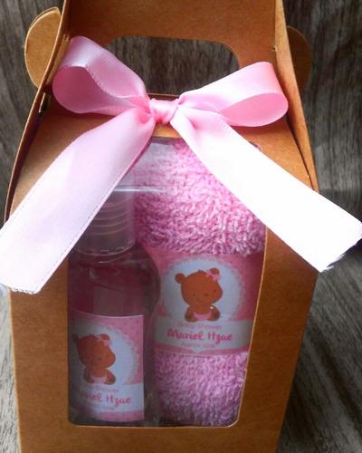 recuerdo baby shower toalla facial+jabón líquido en caja