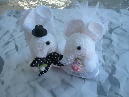 recuerdo boda de toalla 10 parejas de animalitos en bolsa