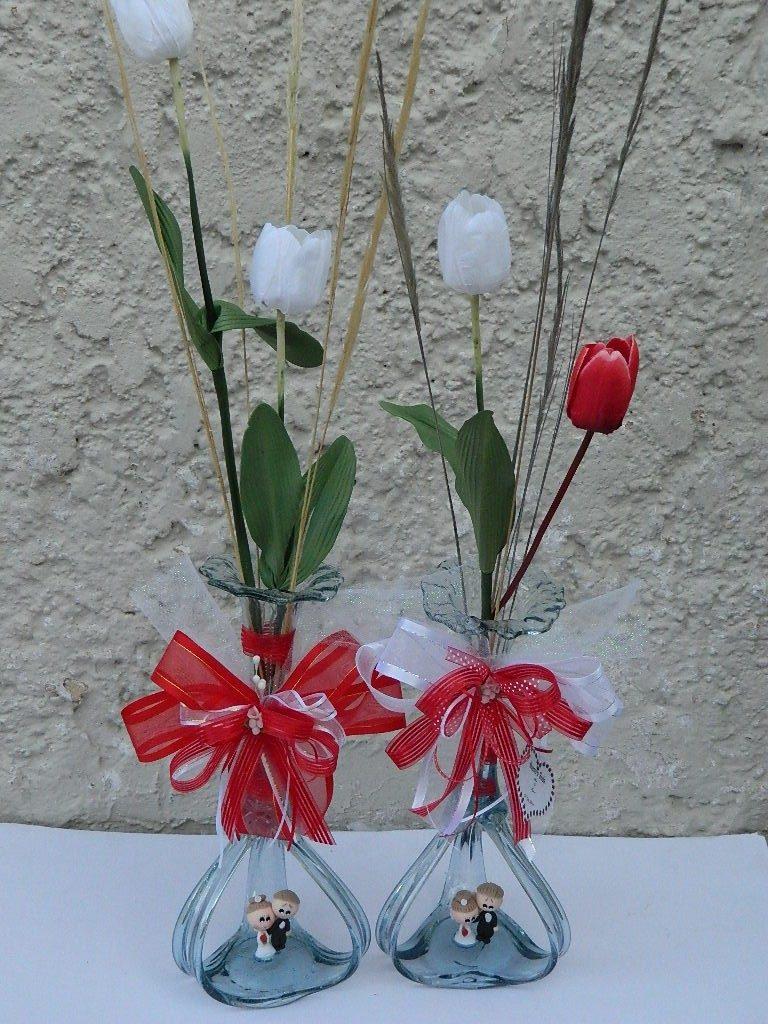 Recuerdo Centros De Mesa Boda Con Novios Y Flores Bautizo