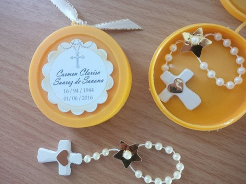 recuerdo con mini rosario para bautizo, comunión, novenario