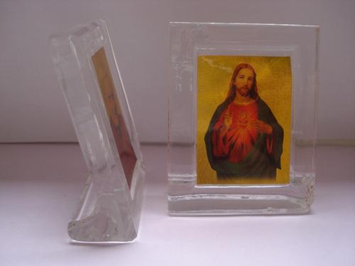 recuerdo juego de tres iconos religiosos, bautizo, difunto.