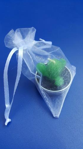 recuerdo souvenir. vela cactus + bolsa + tarjeta.