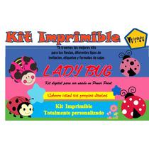 Kit Imprimible De Lady Bug,mariquitas,flores,mariposas