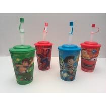 Vasos Toy Story, Ben 10, Con Tapa Y Pitillo Para Cotillón.