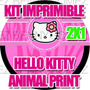 Kit Imprimible Hello Kitty Cebra Fashion 2x1 Animal Print