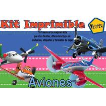 Kit Imprimible Aviones,invitación,fiesta;tarjeta,cumpleaños