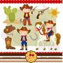 Kit Imprimible Vaqueros Cowboy 6 Imagenes Clipart
