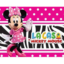 Kit Imprimible Minnie Rosa Cebra Diseñá Tarjetas Cotillon