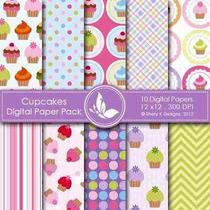 Kit Imprimible Pack Fondos Cupcakes 2 Clipart