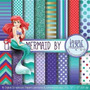 Kit Imprimible Pack Fondos Princesa Sirenita Ariel Clipart