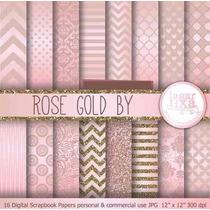 Kit Imprimible Pack Fondos Rosa Y Dorado 2 Clipart