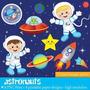 Kit Imprimible Astronautas Espacio 5 Imagenes Clipart