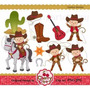 Kit Imprimible Vaqueros Cowboy 5 Imagenes Clipart