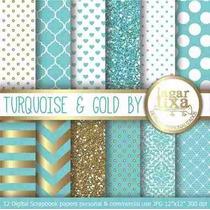 Kit Imprimible Pack Fondos Turquesa Dorado 2 Clipart