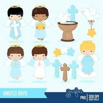 Kit Imprimible Angelitos Bautismo Nene 6 Imagenes Clipart