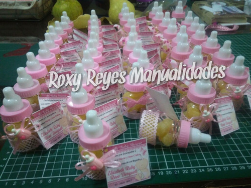recuerdos mamaderas con dulces  baby shower o bautizo