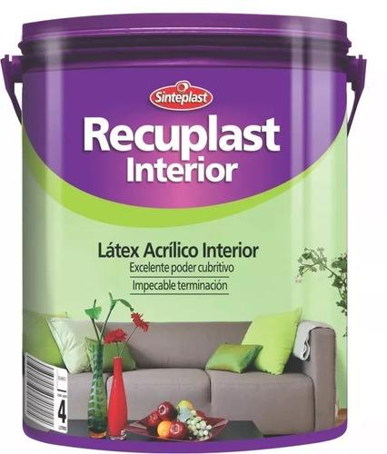 recuplast interior lavable pintura latex 20 lt + rodillo 22