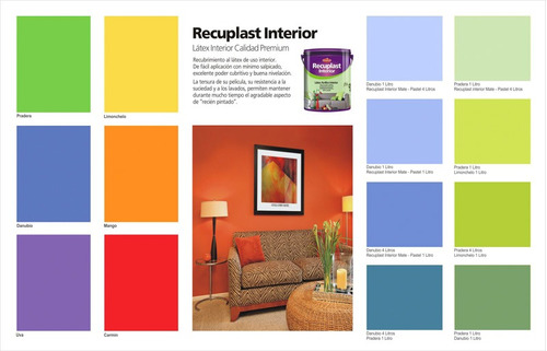 recuplast interior pintura latex lavable colores x 10 lts