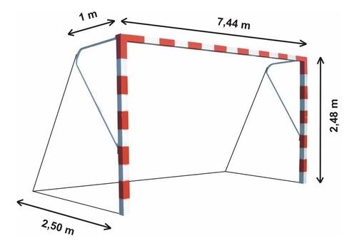 red arco futbol 11 profesional 7,44 x 2,45m soga hilo 2,8mm