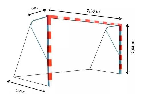 red de arco de futbol once 7,3 x 2,44 mts polietileno