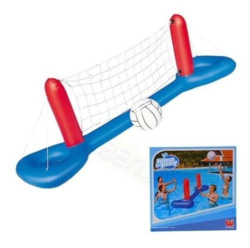red de voley inflabie con pelota pileta juego adultos niño