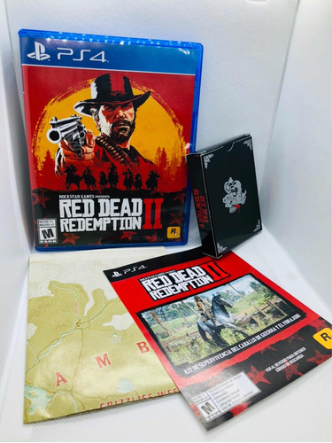 red dead redemption 2 ps4 + naipes + mapa + dlc forajido