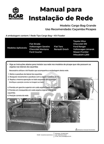 rede cargo bag caçamba picape fiat toro todas as versões